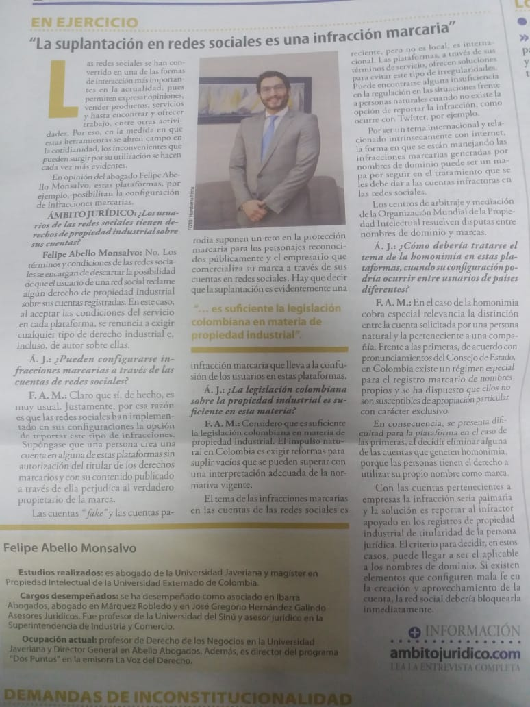 """""""La suplantación en redes sociales es una infracción marcaria"""" - entrevista a Felipe Abello"""